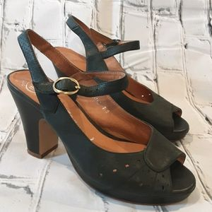 JEFFREY CAMPBELL BLACK LEATHER HEELED SANDALS 7.5M
